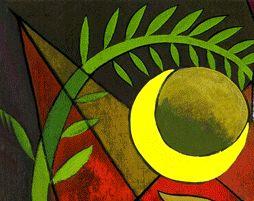 Die Mondsichel unterhalb einer grünen Pflanze