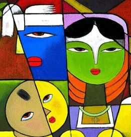 Maria mit einem weißen Kreuz auf der Stirn, Josef mit einem weißen Kopfbund