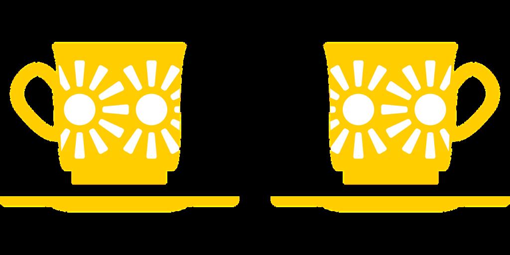 Zwei Kaffeetassen - stilisiert in gelber Farbe mit Sonnenmuster
