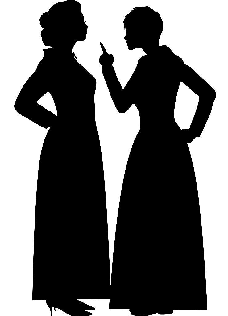 Silhouette zweier streitender Frauen, die eine hebt den Zeigefinger