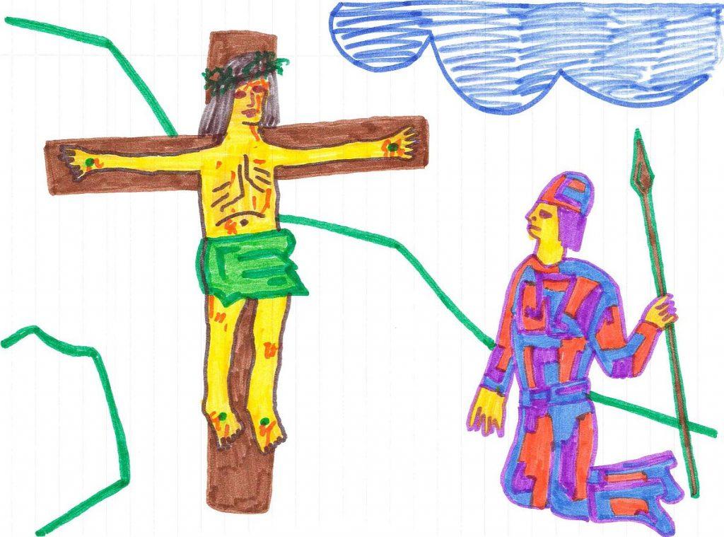 Kreuzigungsbild eines Konfirmanden: Hauptmann kniet vor Jesus am Kreuz nieder