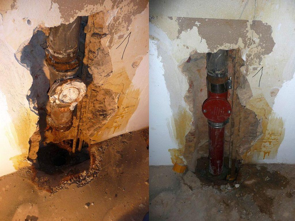 Abflussrohr - links kaputt - rechts erneuert