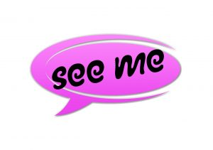 "Sprechblase ""see me"""