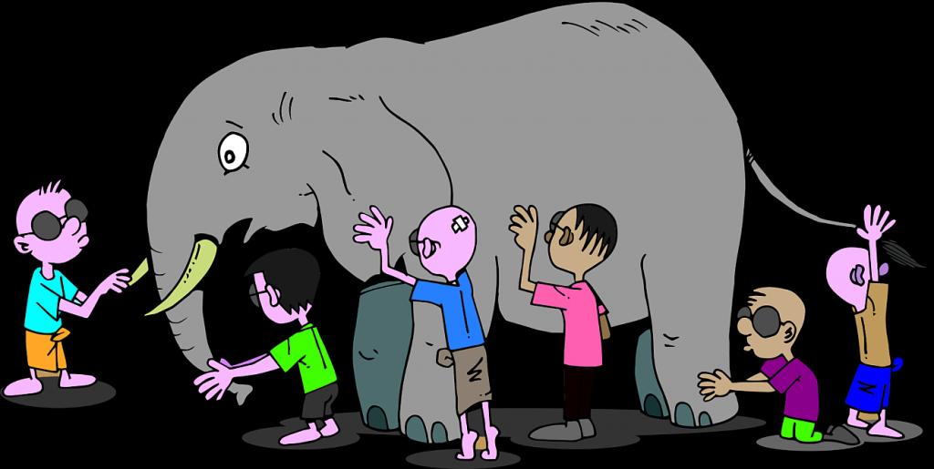 Eine Reihe blinder Personen untersucht einen Elefanten