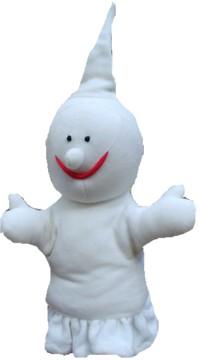 Handpuppe Gabi, die wie ein weißes Gespenst aussieht
