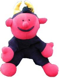 Handpuppe Lutz, ein rot-schwarzes Teufelchen mit gelben Hörnern