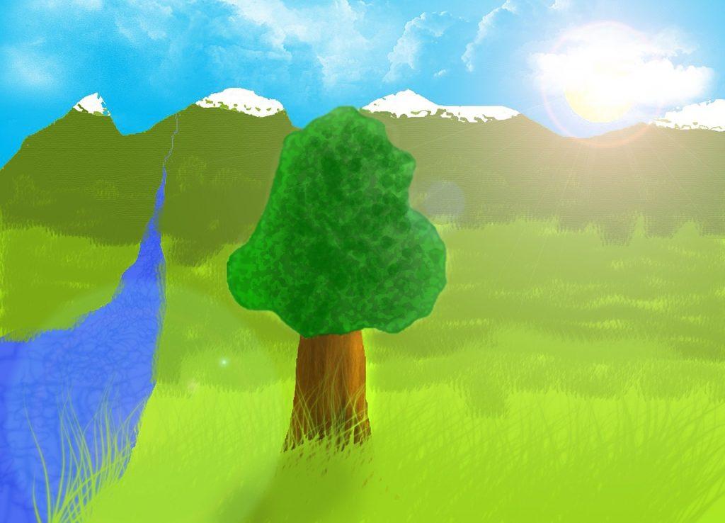 Wasserfarbenbild: Baum auf Wiese neben Bach, der von Bergen geflossen kommt, darüber blauer Himmel und Sonne