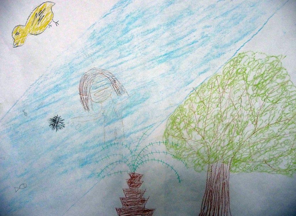 Jesus taucht im Jordan unter, daneben stehen zwei Bäume, darüber fliegt eine Taube