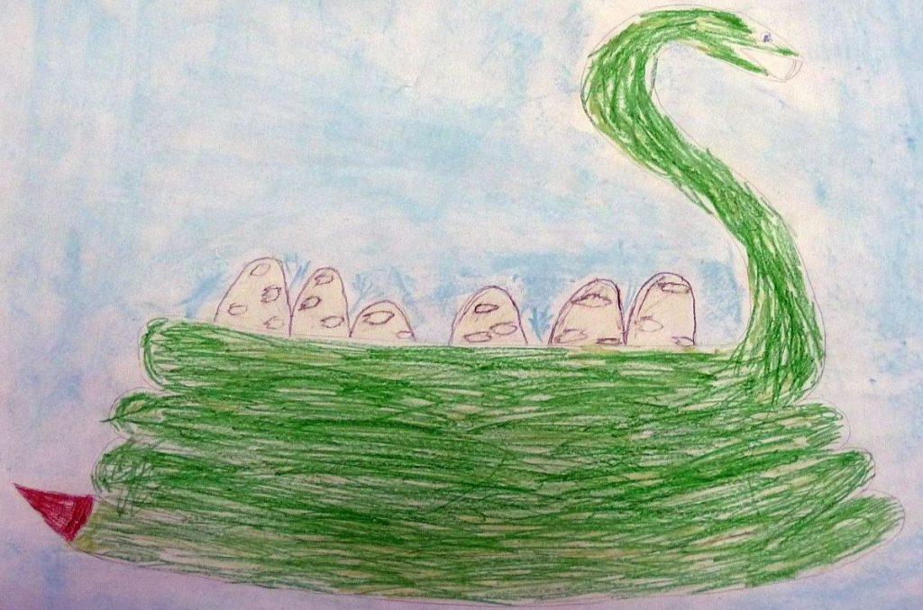 Wie Konfis die Schlangenbrut malen: Eine Schlange rollt sich ein und bildet ein Nest für ihre Eier