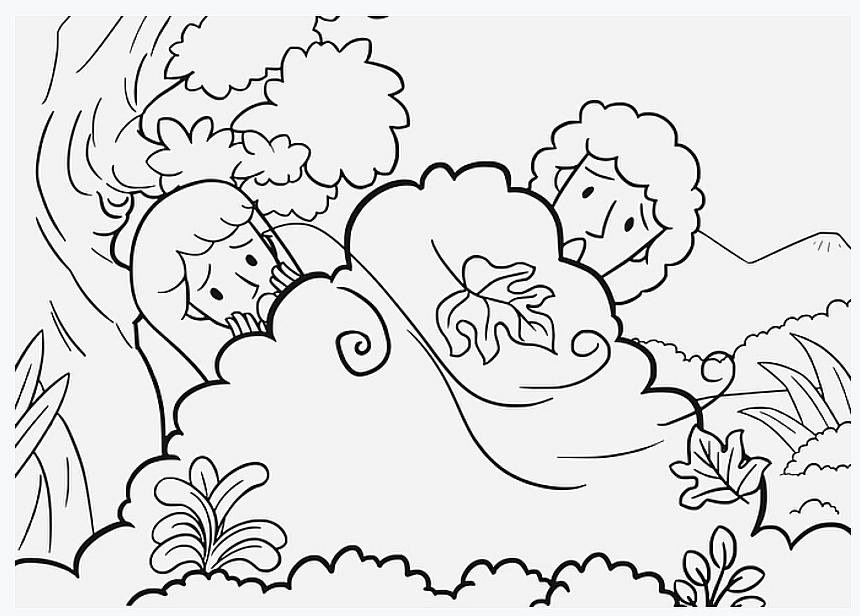 Gott ruft DEM Menschen - Zeichnung von Adam und Eva, die sich vor Gott hinter einem Gebüsch verstecken