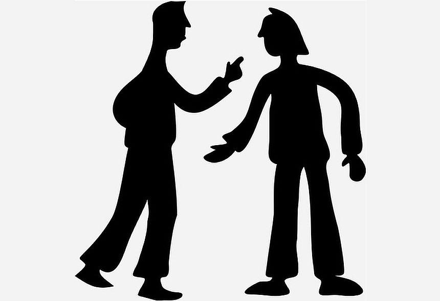 Abel kündigt seinem Bruder Kain gegenüber den Verzicht auf Rache an - das Bild zeigt den Schattenriss zweier streitender Männer