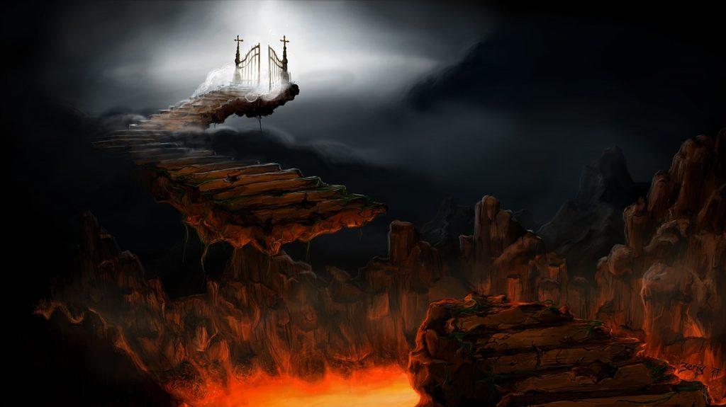 Treppen führen von der glühenden Hölle zu den Toren des Himmels, hinter denen Licht aufscheint