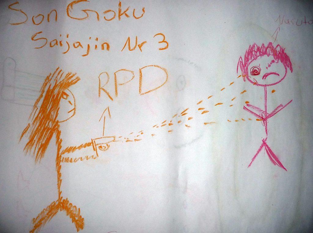 Zwei gezeichnete Männchen knallen sich mit Maschinenpistolen ab