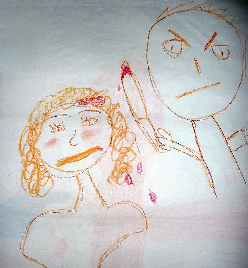 Ein Mann ersticht eine Frau - blutige Tat, von einem Mädchen dargestellt