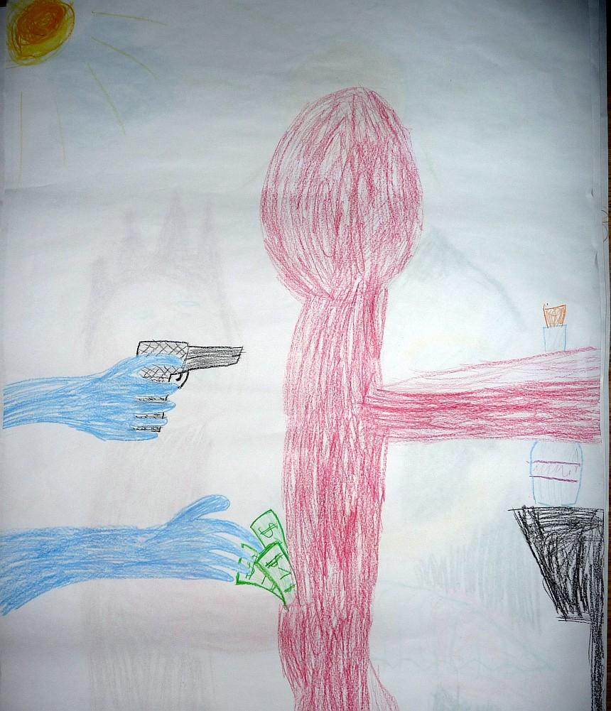 Einer zieht einem anderen das Geld aus der Tasche und bedroht ihn zugleich mit einer Pistole