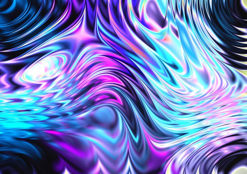 Abstraktes Bild voller Kraft und Bewegung - mit Blau und Pink