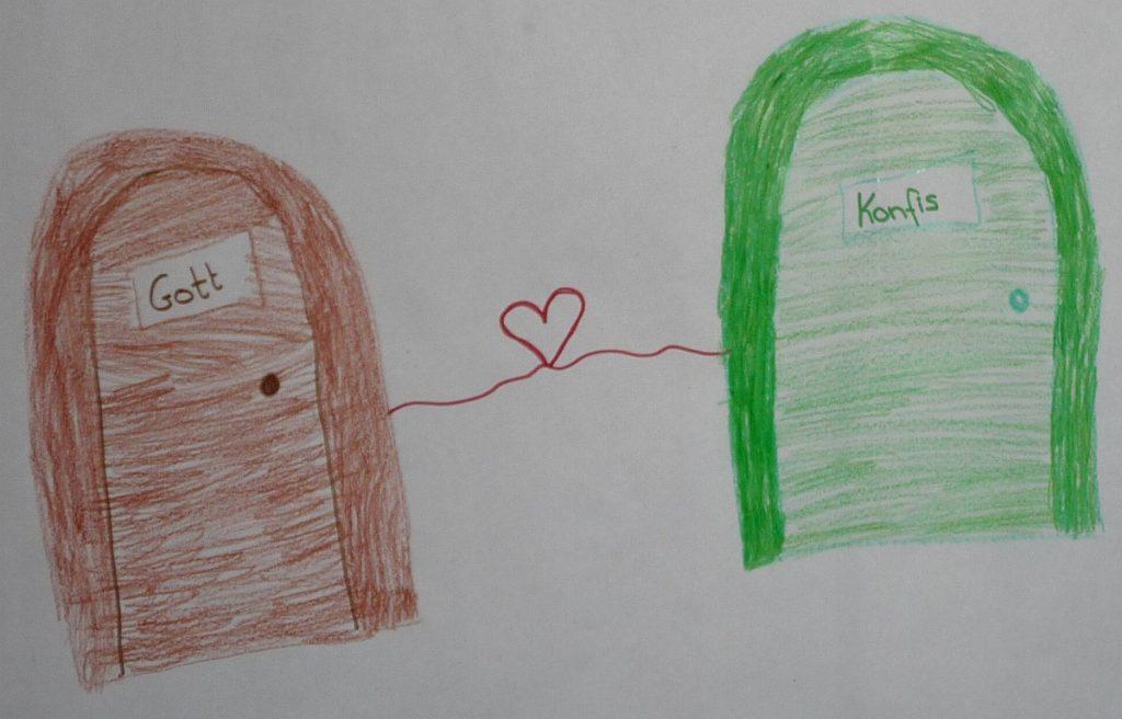 """Zwei Türen, durch ein Herz verbunden, auf der linken steht """"Gott"""", auf der rechten """"Konfis"""""""