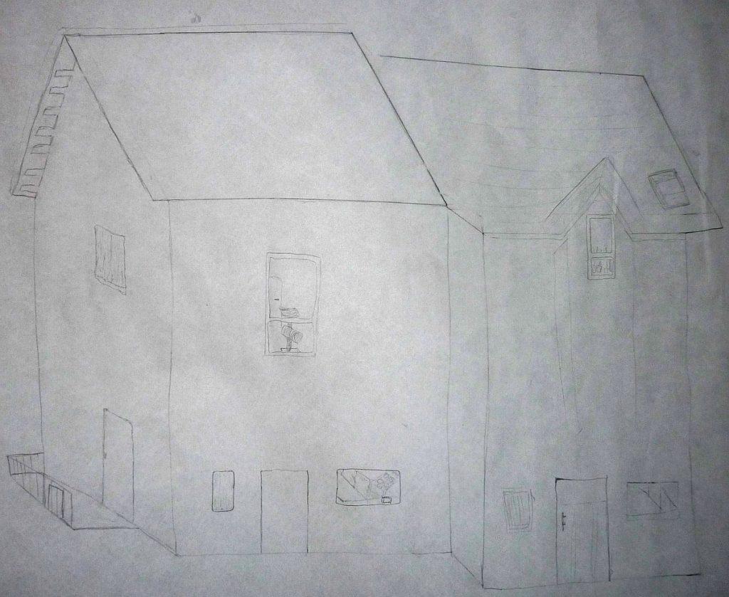 Gott wohnt einfach im Haus nebenan, meinen die Konfis, die dieses Bild von zwei Nachbarhäusern gezeichnet haben