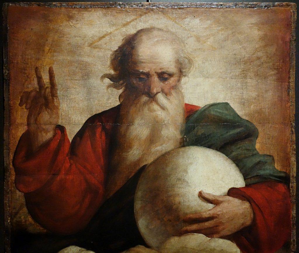 """Das Ölbild: """"Segen Gottes des Vaters"""": Der alte Mann mit Bart hält Daumen, Zeige- und Mittelfinger segnend hoch und schaut auf die Erdkugel in der linken Hand"""