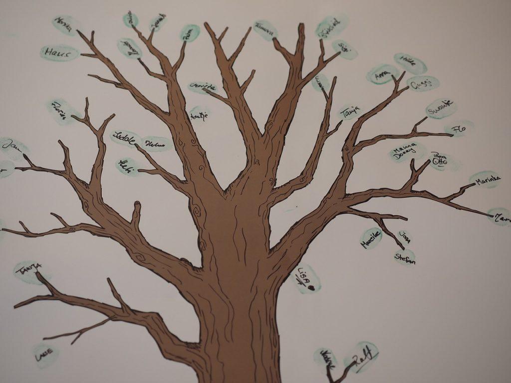 Ein gemalter Baumstamm mit Namensschildern an den Zweigen