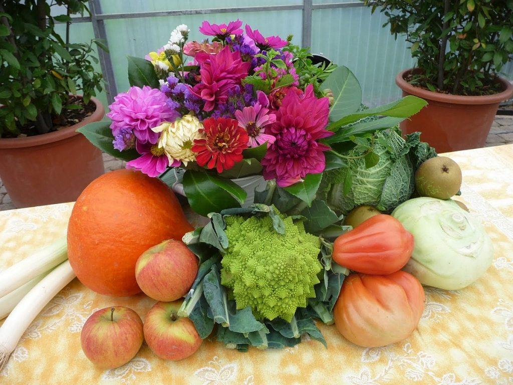 Blumen, Obst und Gemüse als Erntedankschmuck auf dem Tisch