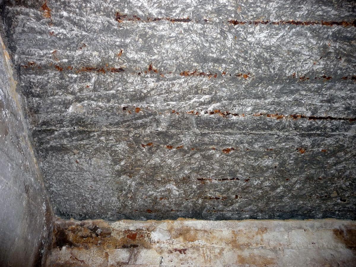 Die Bewehrungsstähle waren fast an der ganzen Kellerdecke nur von einer dünnen Putzschicht überzogen und rosteten seit 55 Jahren still vor sich hin