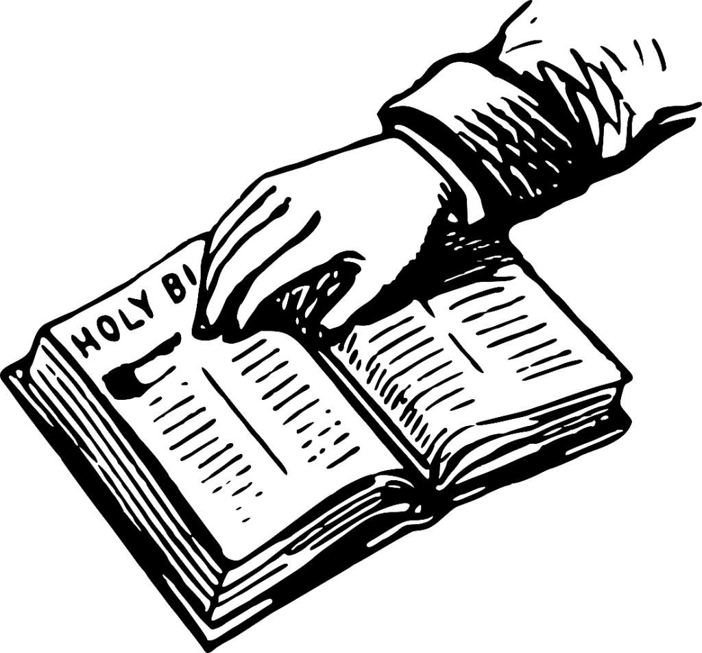 """""""Ja, ja, nein, nein!"""" Die Zeichnung zeigt eine Hand, die auf die Bibel schwört"""