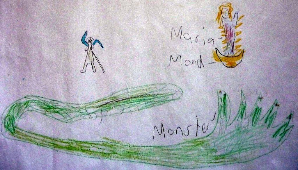 Ein Konfi-Bild vom großen grünen Monster, über dem die Maria als Himmelskönigin relativ klein wirkt und noch kleiner der Erzengel Michael