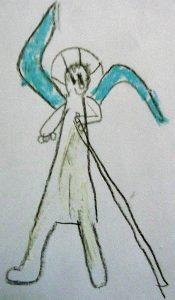 Vergrößerung des Erzengels Gabriel aus dem Bild von eben