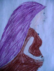 Maria, sehr schwanger, von einer Konfirmandin gemalt