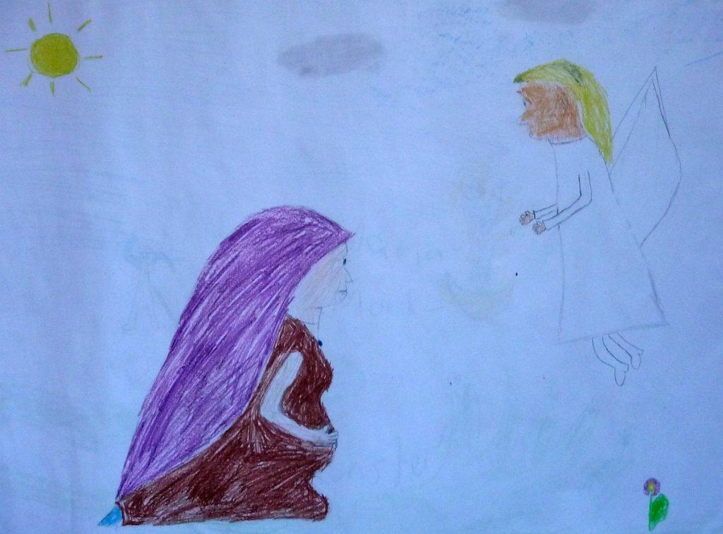 Ein Konfi-Bild mit der schwangeren Maria und einem Engel, beschienen von der Sonne