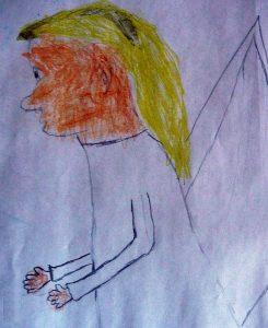 Engel, von Konfis gemalt wie ein schüchterner junger Mann