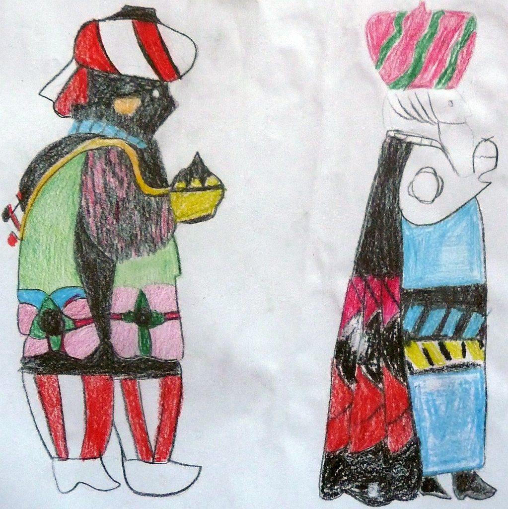 Zwei der Heiligen Drei Könige, von einem Konfirmanden gemalt