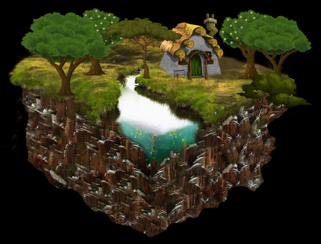 Miniaturwelt: Häuschen an Bach mit Bäumen, wie aus der Erde ausgestochen