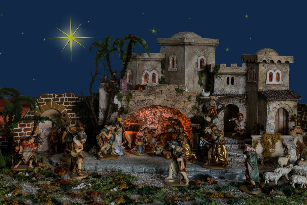 Die Hirten von Bethlehem strömen von allen Seiten zur Geburtsgrotte unterhalb der Häuser der Stadt