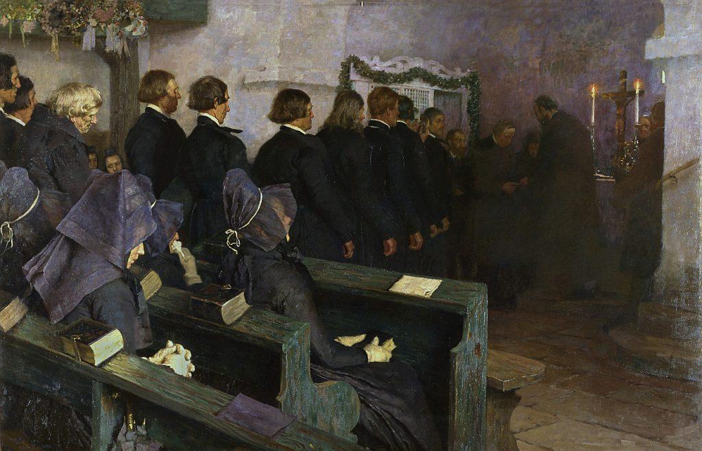 Dunkles Bild von Männern in einer Dorfkirche, die in einer Reihe zum Altar zum Abendmahlsempfang gehen, während Frauen mit Kopftüchern in den Bänken sitzen