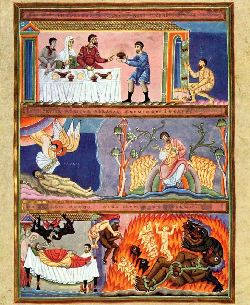 Codex Aureus Epternacensis (Goldenes Evangeliar), Prunkhandschrift, Szene: Gleichnis vom reichen Prasser und vom armen Lazarus, circa 1035-1040, Germanisches Nationalmuseum, Buchmalerei, Schule von Reichenau unter Abt Humbert von Echternach (1028-1051)