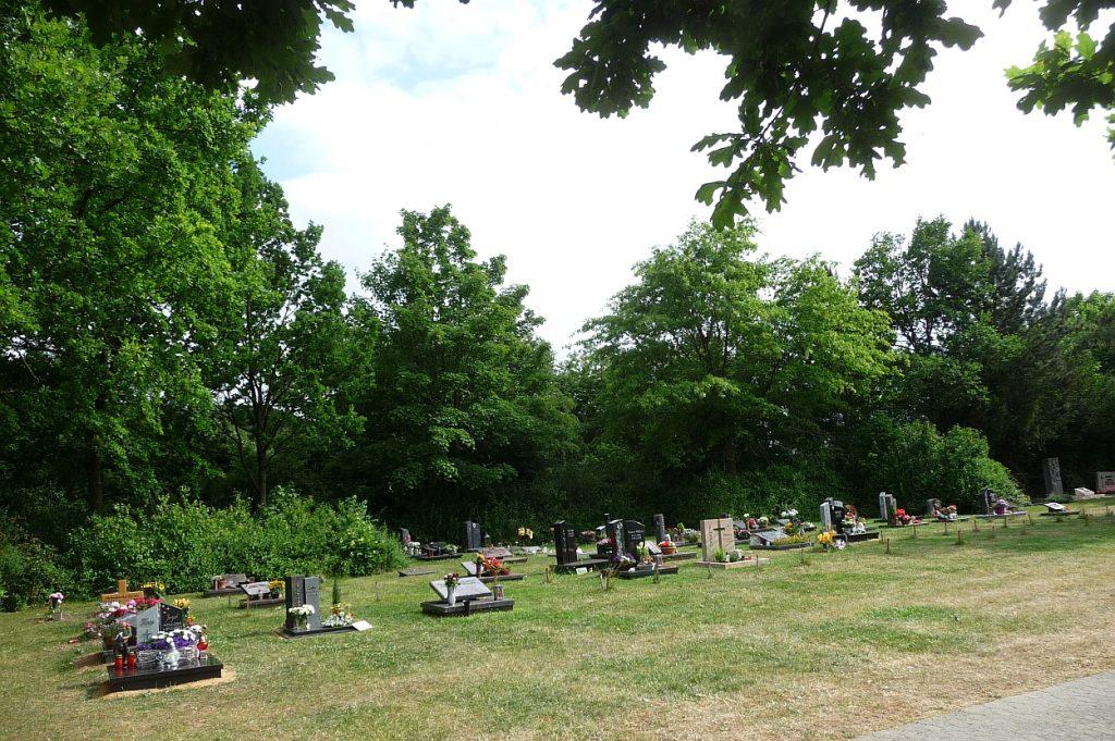 Ein Feld mit Einzelgräbern ganz im Osten des Neuen Friedhofs