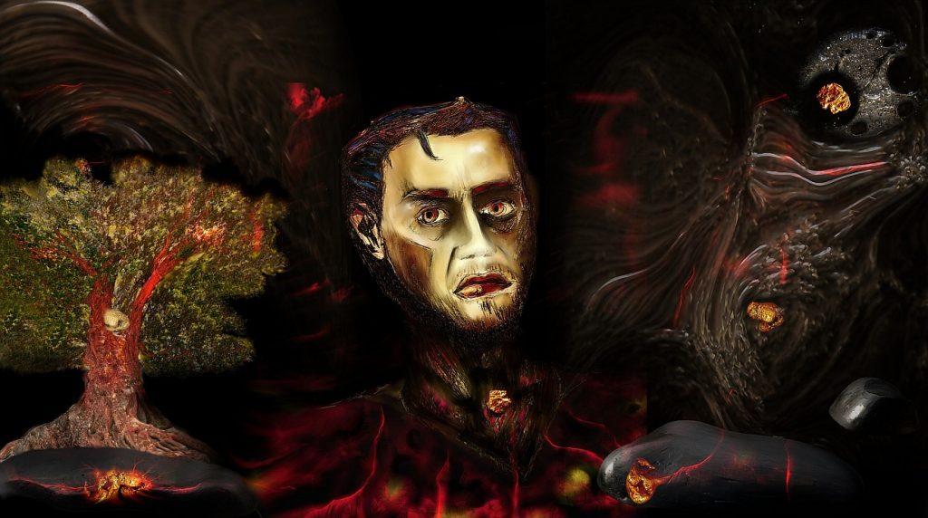Das Selbstportrait eines Künstlers zwischen vorwiegend dunklen Symbolen und einer Art Lebensbaum
