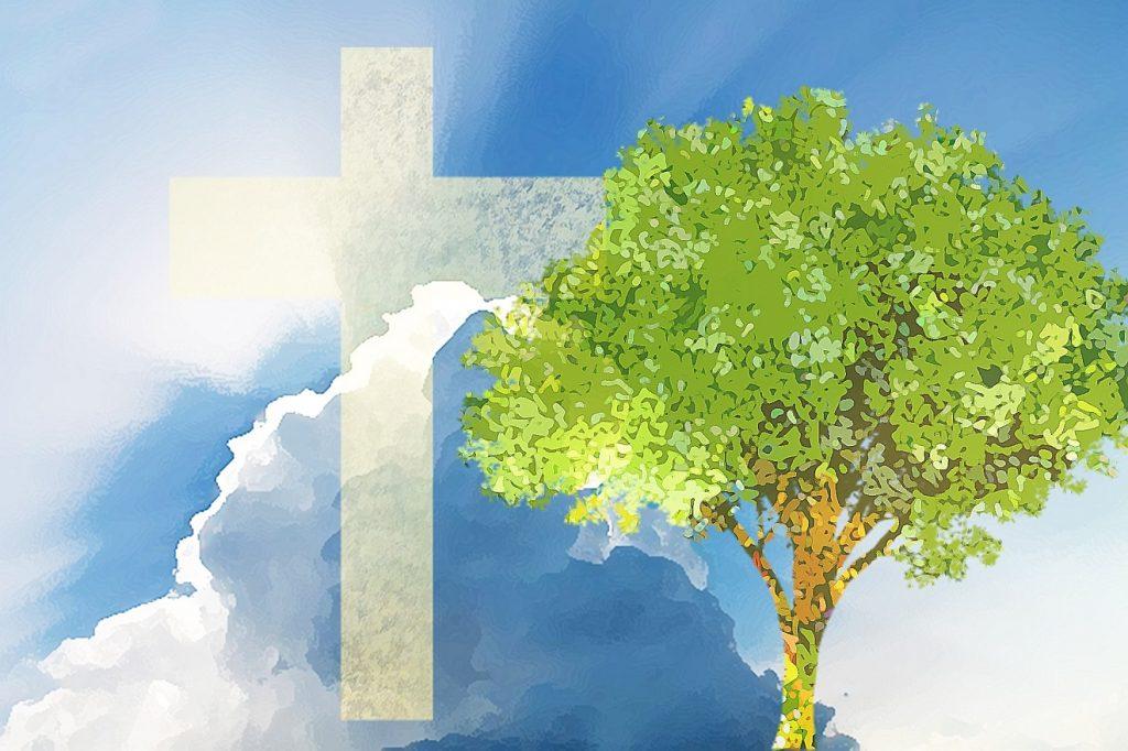 Ein weißes Kreuz vor einem bewölkten blauen Himmel, aus den Wolken bricht die Sonne hervor, danben steht ein grüner Baum als Symbol für das Leben