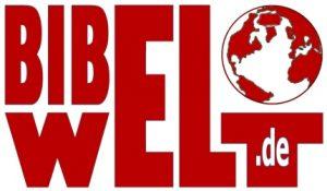 """Das Logo der Seite bibelwelt.de, wobei ein großes """"EL"""" in beiden Teilwörtern vorkommt und auf dem """"T"""" der """"WELT"""" eine stilisierte Erdkugel ruht."""