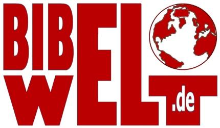 Das Logo der Bibelwelt, wie im Text beschrieben; auf dem T ruht ein stilisierter Globus