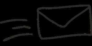 Ein gezeichneter Brief, der sich, angedeutet durch drei Linien, schnell nach rechts bewegt