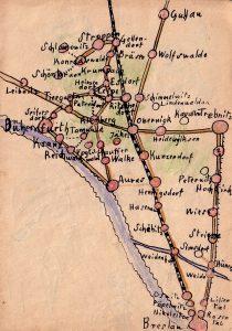 Karte von Niederschlesien, gezeichnet von Rudi Schütz