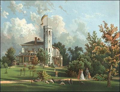 Das Bild zeigt das Schloss von Obernigk in alten Zeiten