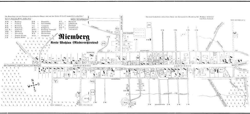 Die von Felix Schmidt aus dem Gedächtnis erstellte Karte des Dorfes Riemberg in Niederschlesien (Stand 1945)