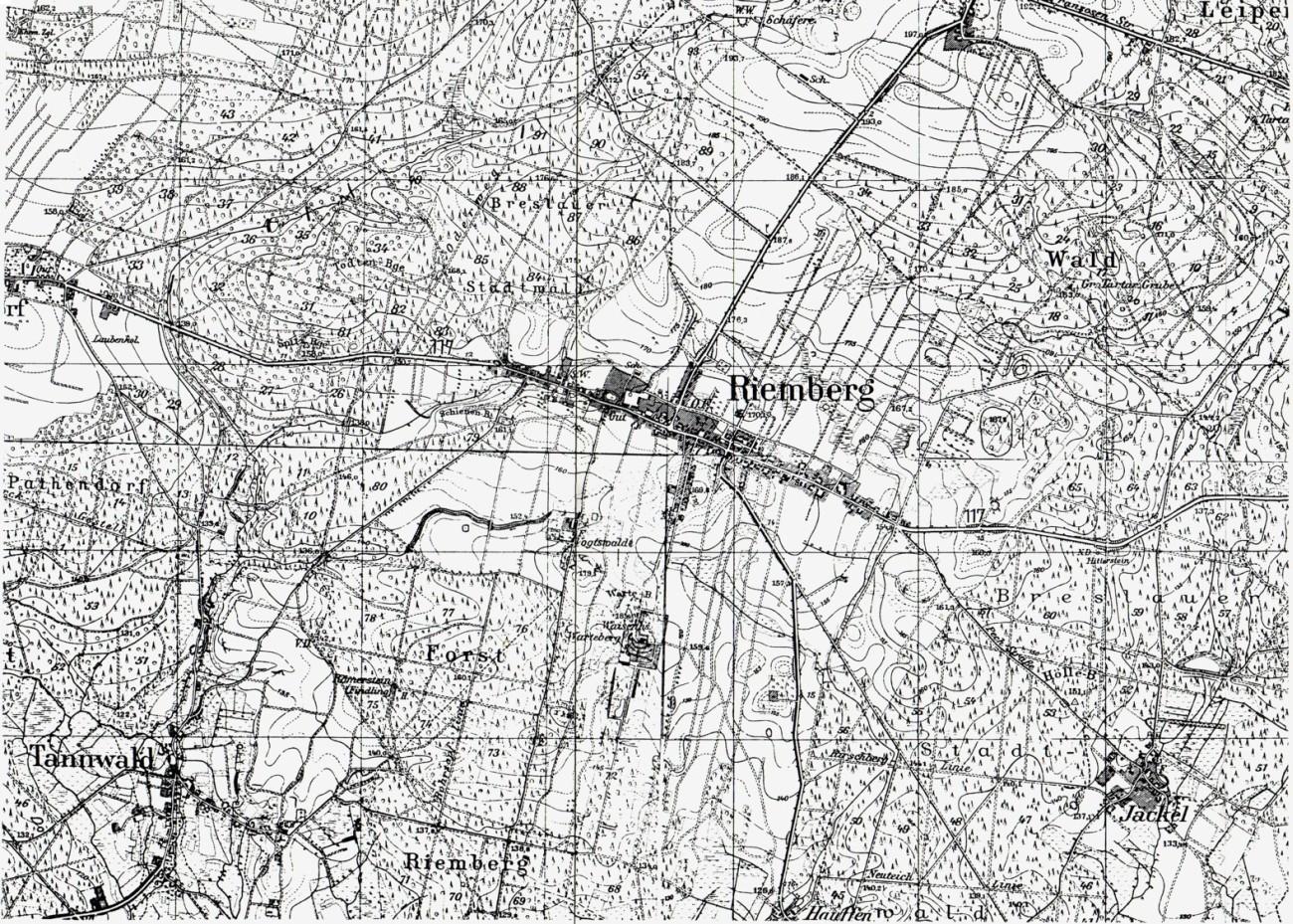 Karte der Umgebung von Riemberg in Niederschlesien
