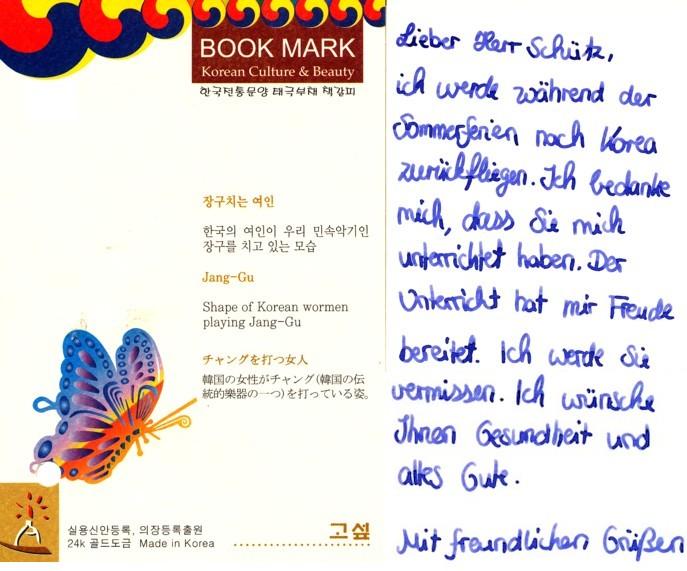 Abschiedsbrief einer koreanischen Schülerin