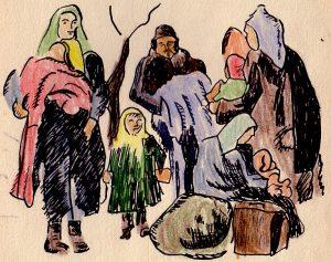 Familie mit Kopftüchern und Pelzmützen auf der Flucht nach dem Zweiten Weltkrieg