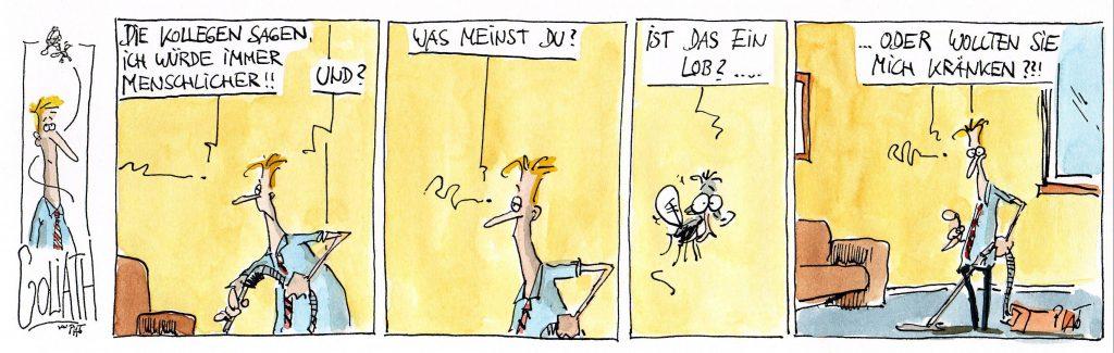 Zur Einstimmung ein Goliath-Cartoon mit freundlicher Genehmigung von Thomas Plaßmann (veröffentlicht am 9.7.2007 in der Frankfurter Rundschau, S. 12). Weitere Cartoons und Comic Strips von Thomas Plaßmann sind auf www.thomasplassmann.de zu finden.